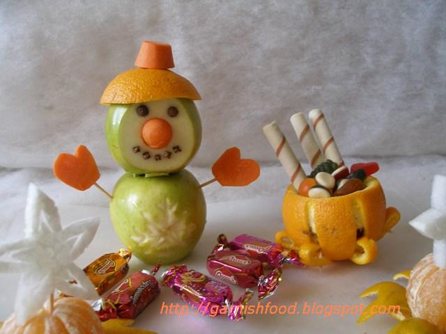 Fruit Carving Arrangements and Food Garnishes: The Fruit Snowman - Do
