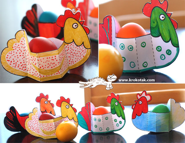 Paper hens for your Easter eggs! You can print out the templates from
