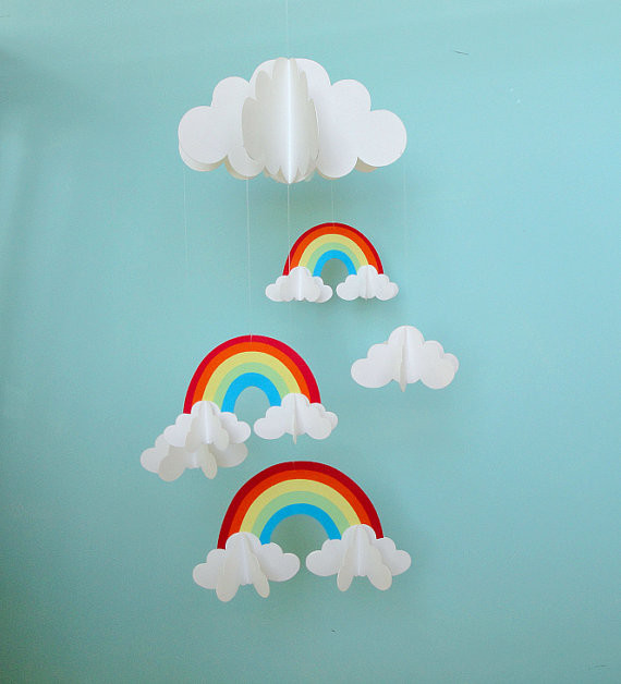 Rainbows and Clouds 3-D Hanging Baby Mobile by Gosh & Golly - Modern