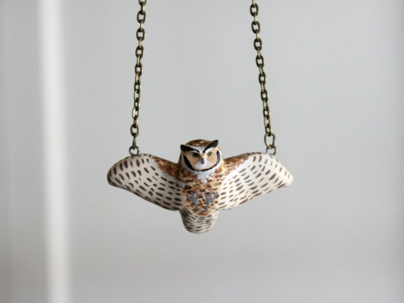 Great horned owl in flight necklace